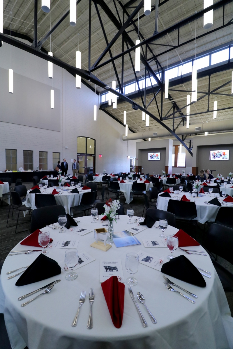 room filled with tables for a banquet