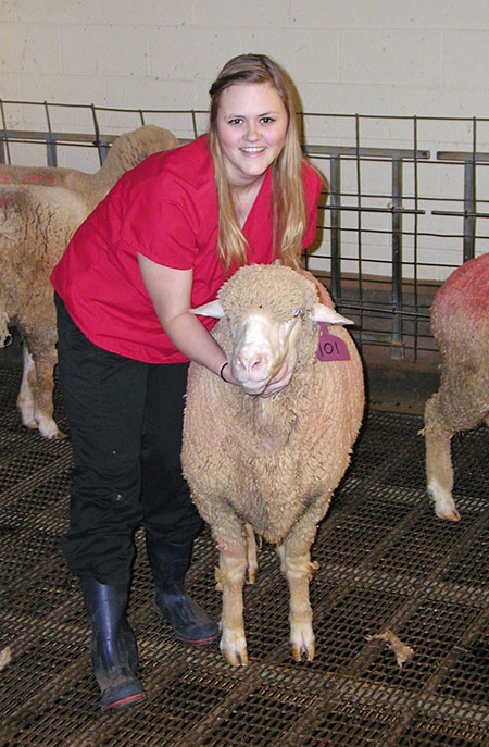 Caitlin Cadaret with sheep