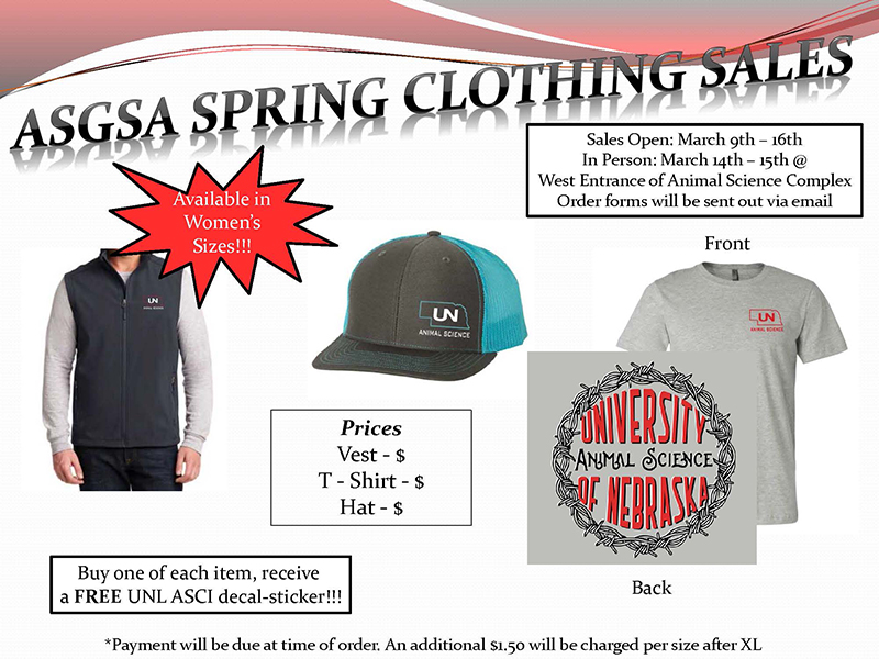 Flyer for ASGSA Spring Clothing Sales